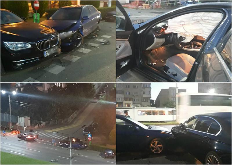 Accident spectaculos cu șapte mașini implicate în zona Lebăda