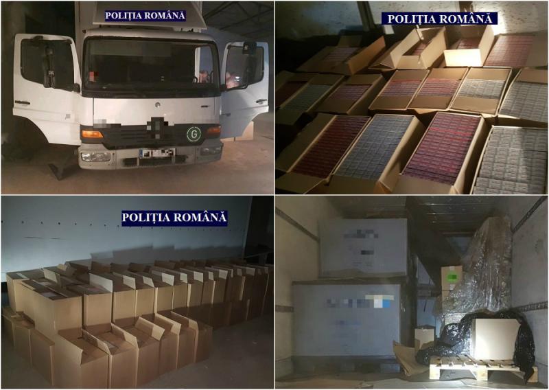 Depozit de țigări de contrabandă în valoare de 800.000 de euro, descoperit în Arad