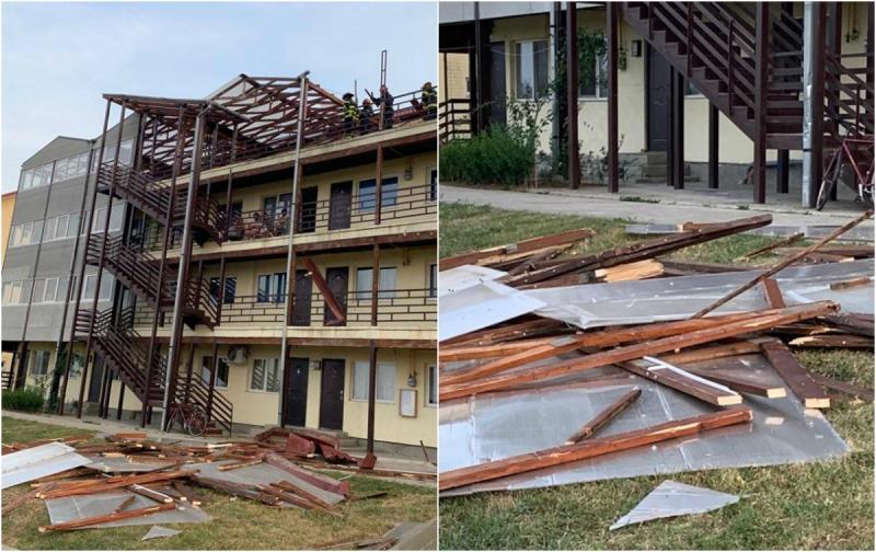 Furtuna de aseară a luat pe sus acoperișul unui bloc din Sânnicolau Mic
