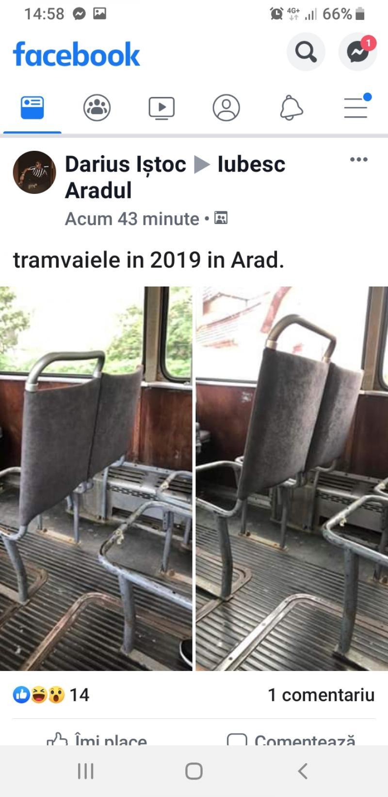 Fake news - Primăria Arad dezminte existenţa în circulaţie a unor tramvaie cu scaune descompletate