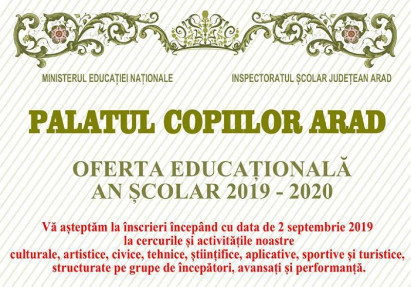 Din 2 septembrie încep înscrierile la Palatul Copiilor Arad