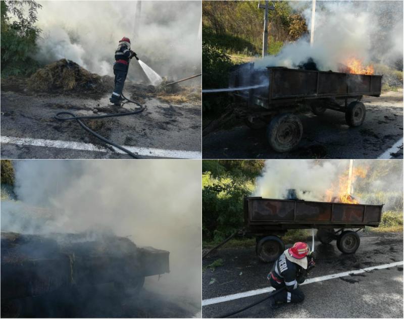 Incendiu la o remorcă în Brazii