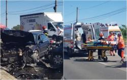 Accident frontal cu victime încarcerate pe viaductul de la Subcetate