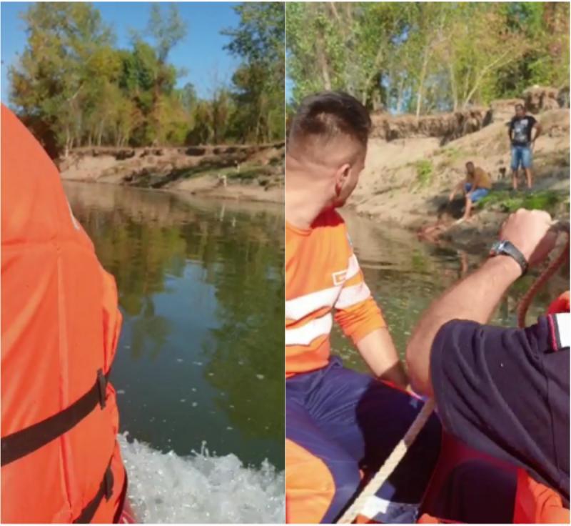 Un bărbat a rămas blocat în nămol în timp ce pescuia în Fântânele