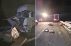 Tragedie pe Autostrada A1 Lugoj-Deva! Doi bărbați au fost loviți mortal de un TIR în timp ce reparau o mașină