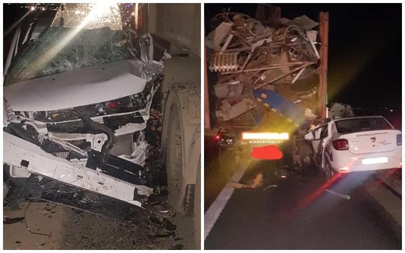 Circulație închisă pe Autostrada A1, sensul Arad – Timișoara! Două autotrenuri şi un autoturism implicate în accident!