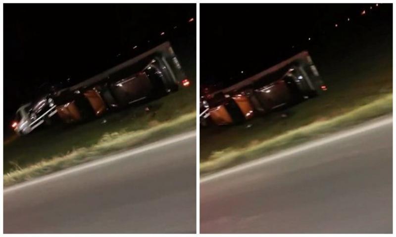 Autotrailer răsturnat pe Centură în Arad