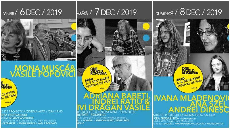 Mona Muscă, Vasile Popovici, Adriana Babeți și Ivana Mladenovic, printre invitații speciali ai primei ediții One World Romania la Arad 6-8 decembrie 2019