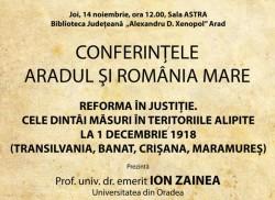 """Conferințele """"Aradul și România Mare"""". Prof.univ.dr.emerit Ion Zainea - invitat la Arad"""