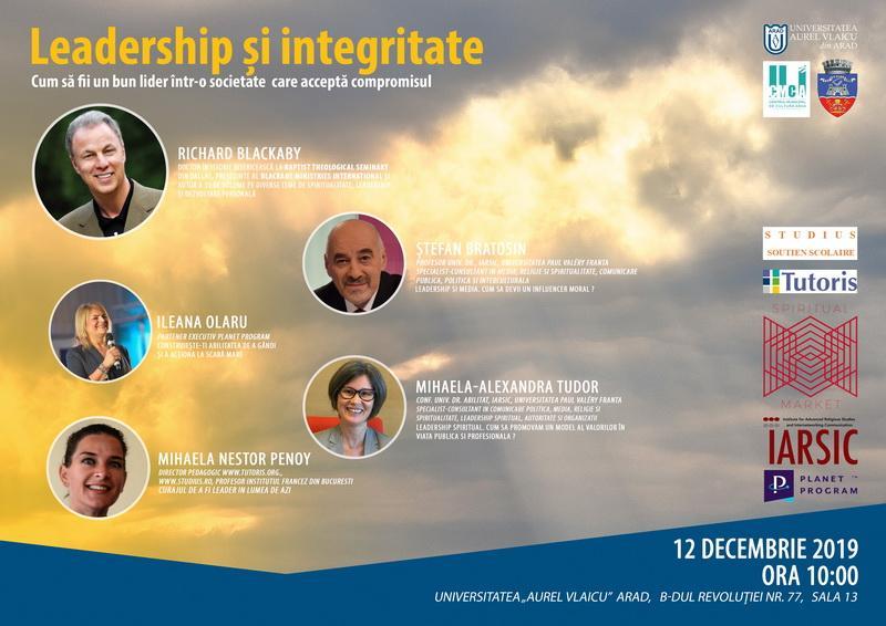 """""""Leadership si integritate"""" - Conferință cu speakeri cunoscuți la UAV Arad"""