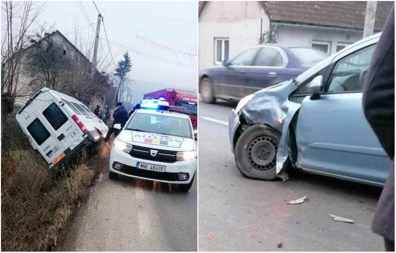 Microbuz transport persoane, în șanț! Accidentul s-a produs în județul Arad
