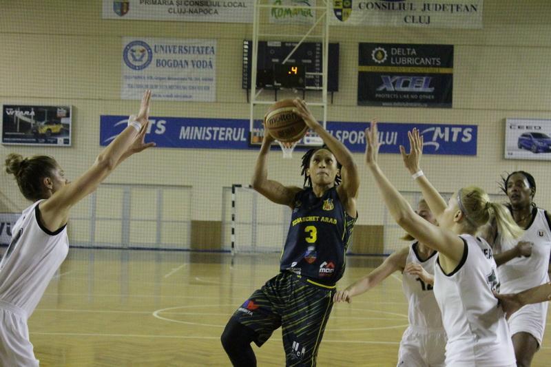 """Succes fără emoții la Cluj, """"galben-albastrele"""" încheie anul pe locul 2: Universitatea Cluj – FCC Baschet Arad 52-73"""