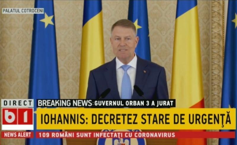 Preşedintele Iohannis a anunțat principalele măsuri aduse de Starea de Urgență