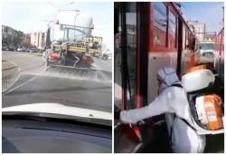 Străzile din municipiu şi intrările din municipiu se spală cu o soluţie specială, iar mijloacele de transport în comun se dezinfectează