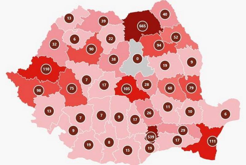 La nivel național 2570 cazuri, 94 decese, 252 vindecări, 26609 teste, 110 infectați în Arad!