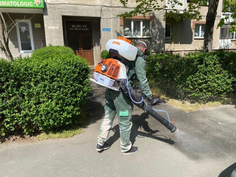 Marţi şi miercuri, se desfăşoară în municiupiul Arad, dezinfecția aleilor, trotuarelor și intrărilor în blocuri