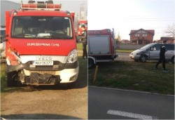 Bizonul Zilei: Incendiu puternic în Gai, Bizonul depăşeşte maşina de pompieri dar se opreşte direct în ea