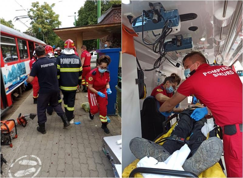 Bărbat căzut între vagoanele unui tramvai în staţie la Dacia