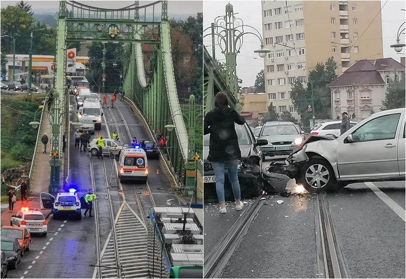 Accident pe podul  Traian, al patrulea pe ziua de joi care a blocat şi traficul în zonă