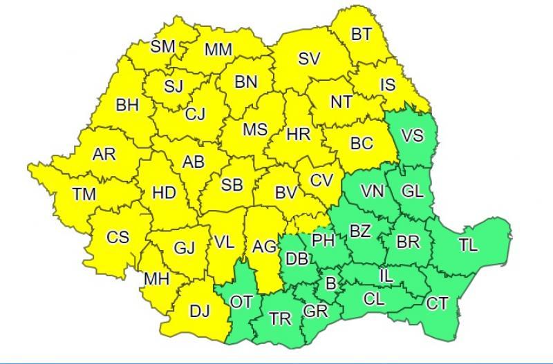 Cod galben în mai multe județe din România