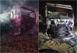 Trei camione s-au făcut scrum la balastiera din Șofronea