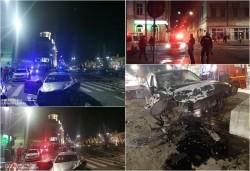 Accident violent cu victim în zona teatrului. Una din maşinile implicate proiectată într-o macara