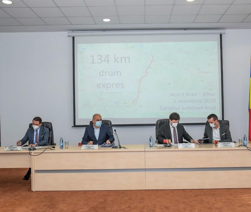 Iustin Cionca, Ilie Bolojan, Călin Bibarț și Florin Birta au semnat parteneriatul pentru drumul expres Arad-Oradea!