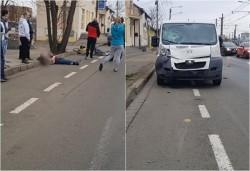 Biciclist spulberat pe trecere de pieton pe Iuliu Maniu şi proiectat 50 de metri
