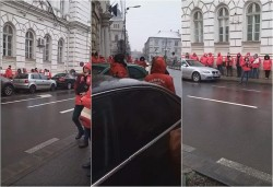 Cadrele medicale din Sanitas – proteste în faţa prefecturii pentru îngheţarea salariilor
