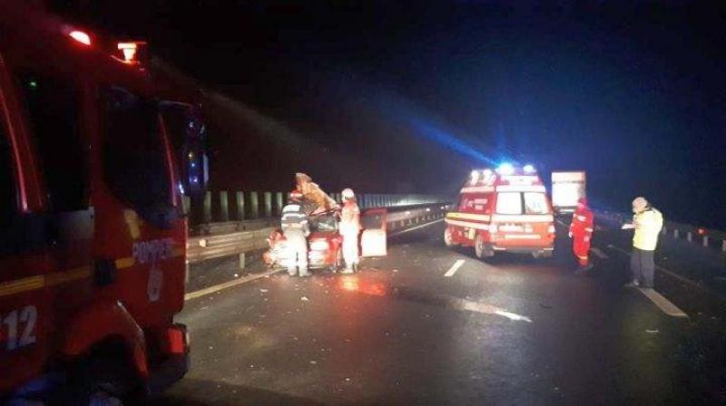Accident rutier pe Autostrada A1 pe sensul de mers Timişoara-Arad. Sunt 7 victime din care 2 decedate!