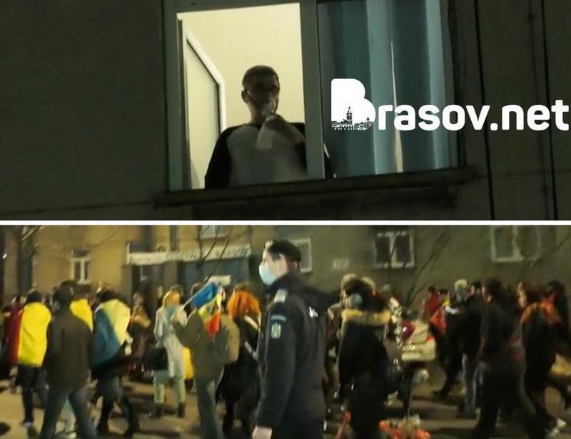 A două seară de proteste în Arad a strâns peste 1000 de persoane, în timp ce o imagine din Brasov devine virală,un pacient internat se uită la protestele anti-mască cu masca de oxigen pe faţă