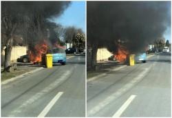 """Opel Corsa făcut scurm de un incendiu în cartierul """"Subcetate"""""""