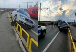 Un septuagenar cu un Audi a ajuns pe elementele de protecţie a viaductului de la Micălaca, absolut inexplicabil