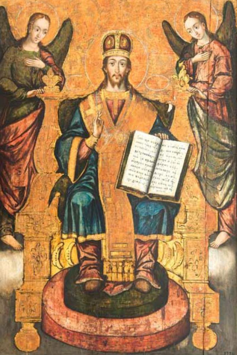 """Exponatul lunii aprilie la Muzeul Orașului Lipova este ICOANA """"ISUS HRISTOS, MARE ARHIEREU ÎNTRE ARHANGHELI"""" (1775)"""