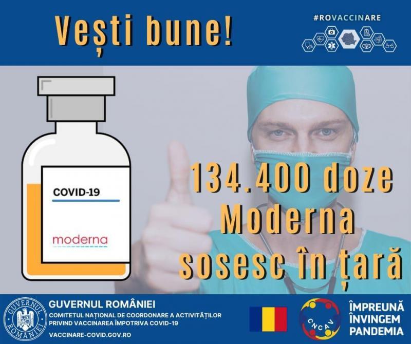 134.400 doze de vaccin Moderna sosesc azi în România