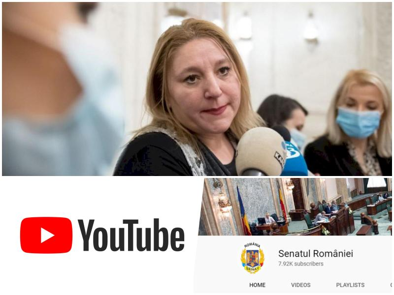 Pagina YouTube a Senatului a fost închisă pentru anumite înregistrări video cu luări de cuvânt ale Dianei Şoşoacă