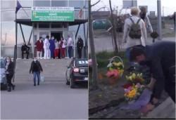 Protest cu flori în fața Spitalului COVID din Grădiște. Arădenii le-au mulțumit într-un mod inedit medicilor pentru eforturile lor