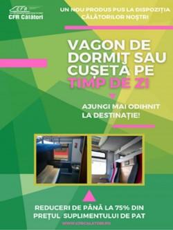 Ajungi mai odihnit la destinație! CFR Călători introduce vagoane de dormit sau cușetă la trenuri de zi, la tarif special!
