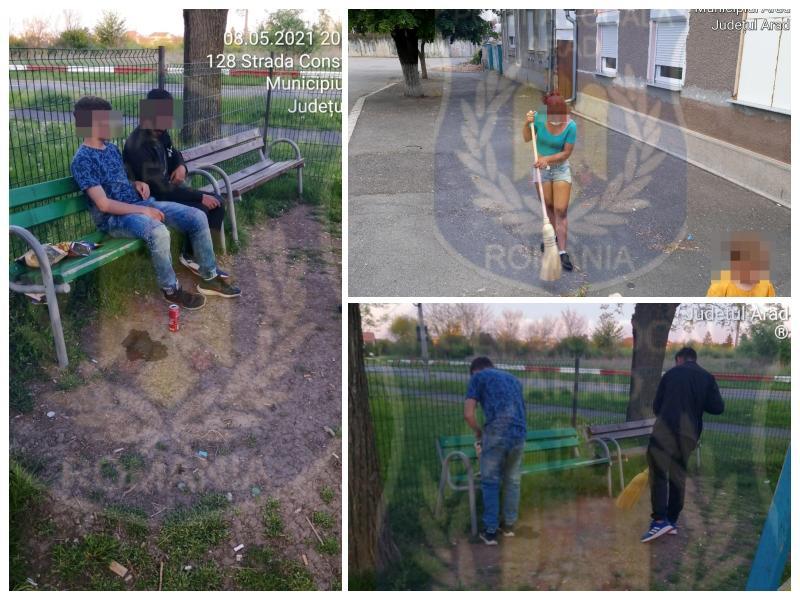 """Spărgeau semințe pe trotuar până i-a prins """"Locala"""" și i-a dotat și cu mături"""