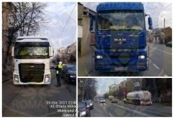 45 conducători autovehicule de mare tonaj amendați pentru lipsa autorizațiilor corespunzătoare la traversarea municipiului