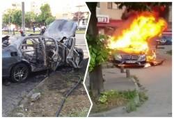 Update: Mașina aparține lui Ioan Crișan - Un autoturism arde ca o torță în fața magazinului Profi de pe Calea Aurel Vlaicu! În interior o persoană decedată!