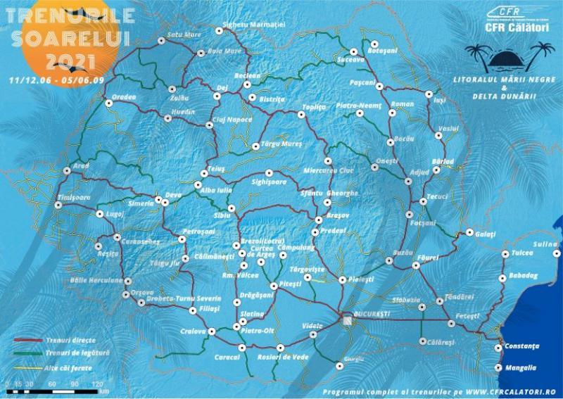 Trenurile Soarelui au pornit azi la drum. 40 de trenuri din toate colțurile țării cu destinația Marea Neagră și Delta Dunării