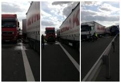 Accident după accident cu victime pe autostradă. Trei TIR-uri au intrat în coliziune. O victimă a fost preluată de elicopterul SMURD