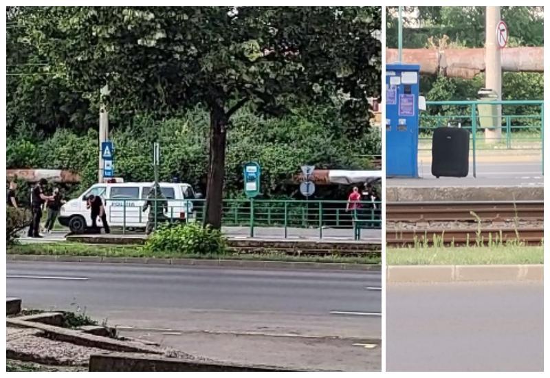 Valiză suspectă părăsită într-o stație de tramvai din zona 300. Traficul e deviat, intervin pirotehniștii