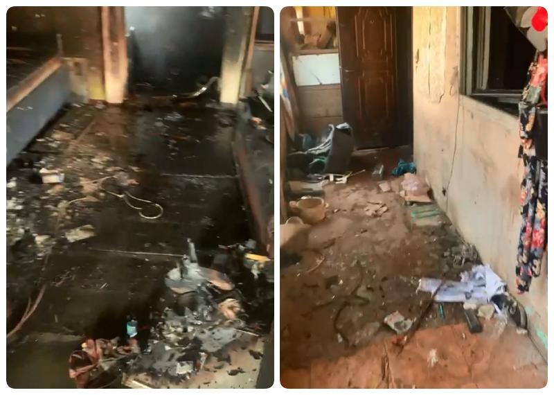 A venit acasă și a găsit casa arsă