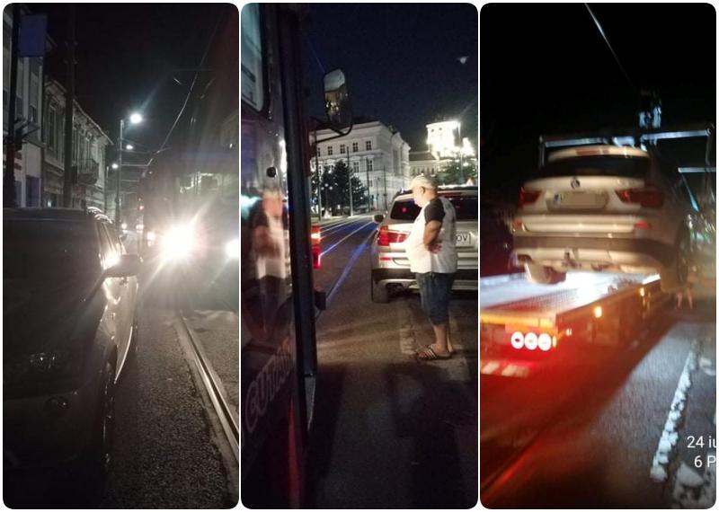 Bizonul Zilei: Ghici ce mașină a blocat tramvaiele pe centru mai bine de o oră?