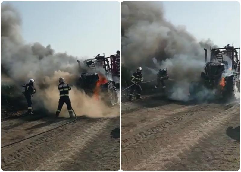 Tractor cuprins de flăcări la Iratoșu