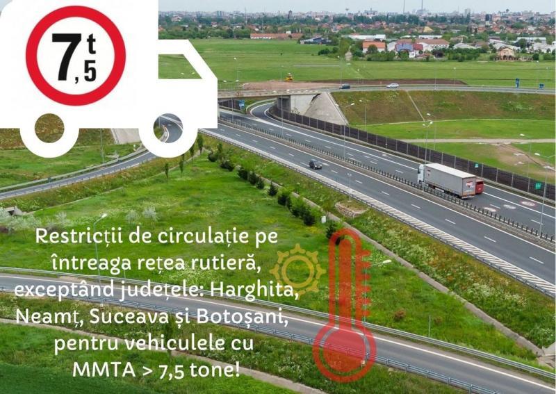 Canicula aduce restricții de circulație pentru autovehiculele  de peste 7,5 tone pe întreaga rețea rutieră națională
