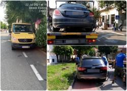 Șoferi amendați, mașini ridicate pentru blocarea pistelor de biciclete