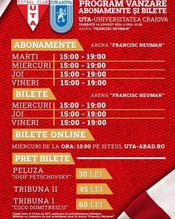 Miercuri începe vânzarea biletelor pentru meciul UTA- Universitatea Craiova. Biletele costă între 30 și 60 de lei
